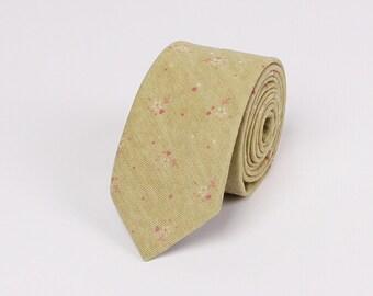 Olive Green Floral Ties.Wedding Ties.Casual Neckties.Cotton Neckties.