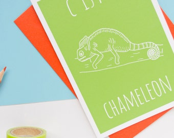 Chameleon Card / Chameleon Notecard / Animal Alphabet Card / Animal Alphabet / Blank Greeting Card / Notecard / Animal Card / Chameleon