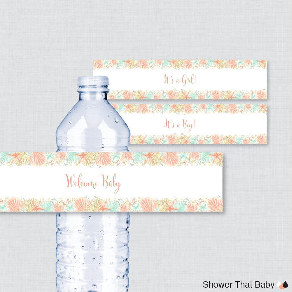 printable nautical baby shower water bottle labels coral and