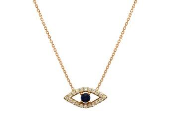Diamond evil eye necklace