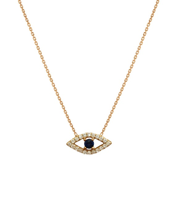 diamond evil eye necklace by lettersbyzoe on etsy. Black Bedroom Furniture Sets. Home Design Ideas