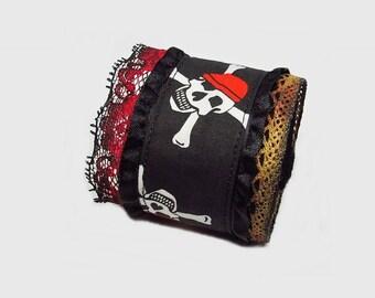 Fabric cuff bracelet, pirate bracelet, skull bracelet, red black bracelet, mixed media bracelet, victorian style bracelet, gothic bracelet