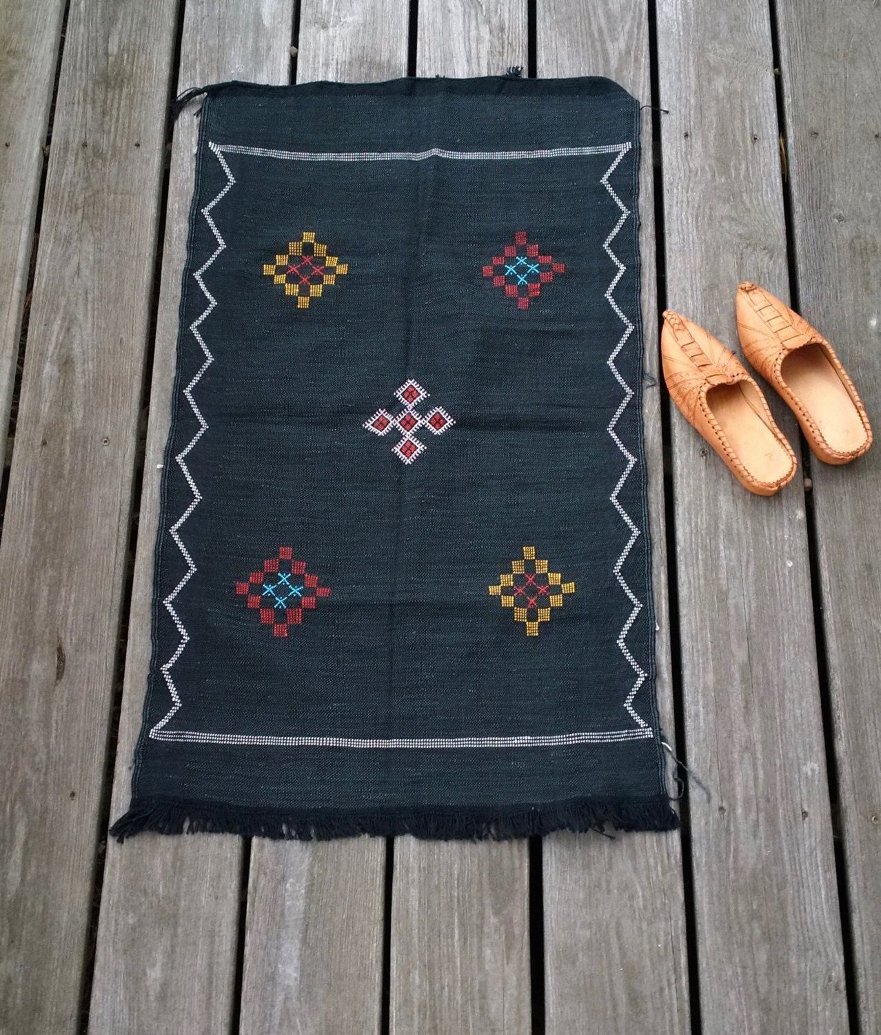 Vintage Moroccan Cactus Silk Rug Or Wall Hanging Black Small
