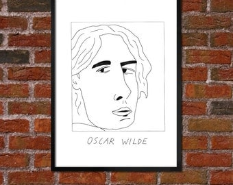 Badly Drawn Oscar Wilde - Literary Poster - *** BUY 4, GET A 5th FREE***