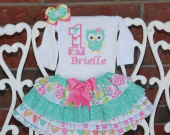 Owl First Birthday Outfit! Baby Girl First Birthday Outfit! Owl Birthday outfit/First birthday outfit/Mint and pink birthday outfit/owl