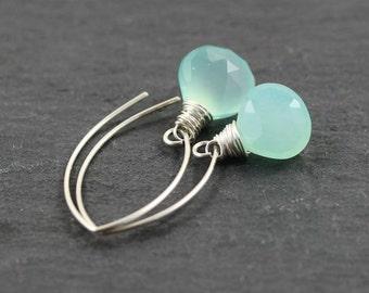 Aqua Chalcedony & Sterling Silver Earrings. Long Drop Earrings. Sea Foam Earrings. Gemstone Jewelry. Wire Wrapped Dangle Earrings. Jewellery