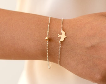 Dove Bracelet, Bird Bracelet, Dainty Dove Bracelet, Delicate Bird Bracelet, Delicate Bracelet, Gold Bracelet, Silver, Rose Gold Bracelet