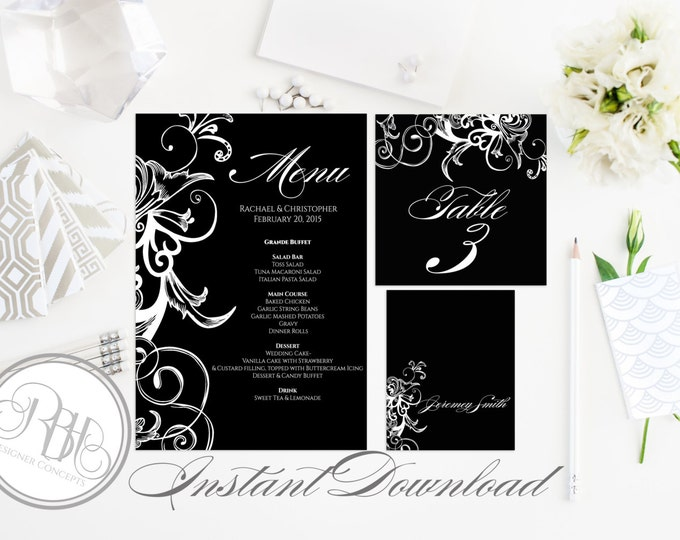 Black & White Party Table Number, Place Card, Menu INSTANT DOWNLOAD-DIY Editable Text-black white floral swirl-Ursula Table Package