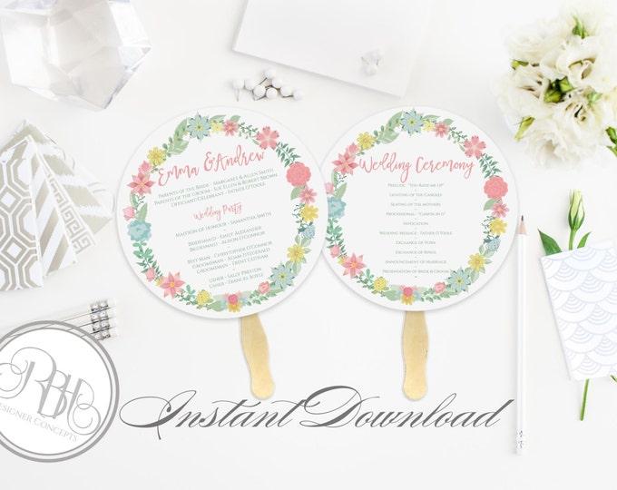 Rustic Wreath Wedding Program Fan Template -Instant DOWNLOAD - EDITABLE TEXT pdf Only - Rustic Wreath Round Fan -Priscilla
