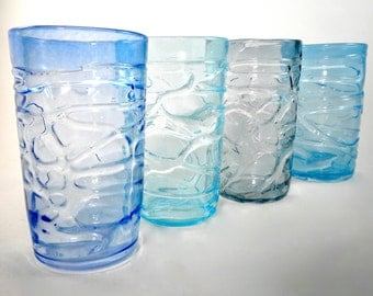 Water Glasses- transparent hand blown glass cups, glass water cups, blue, winter, tumblers, dinner party, great gift idea, price per glass