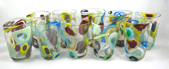 Party Glasses hand blown glass cups cane murini by ...