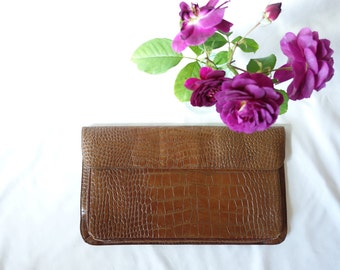 Vintage 1970's Clutch Envelope Alligator Skin Purse Evening Bag Mod Mid Century Mad Men Pin Up