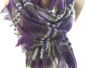 Blanket Scarf Plaid Scarf Oversize Scarf Purple Scarf Shawl Flannel Blanket Scarf Fall Winter Women Fashion Accessory Christmas Gift For Her