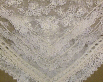 LOT B:  Ivory Lace, Cremé Handkerchiefs with Matching Lace Edgings