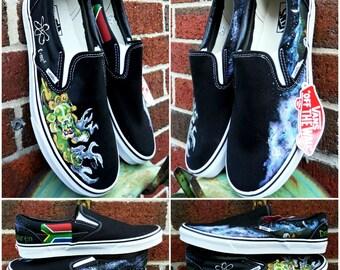 Groom's Wedding Shoes, Wedding Shoes, Hand Painted Shoes Unique Groom's Wedding Shoes Custom VANS Wedding sneakers Painted Wedding Shoes