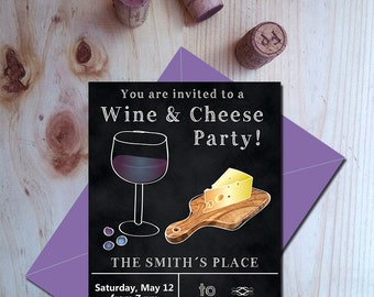 Wine and cheese party invitation, Wine birthday party invites, Meal invitations, Instant download wine party invitations