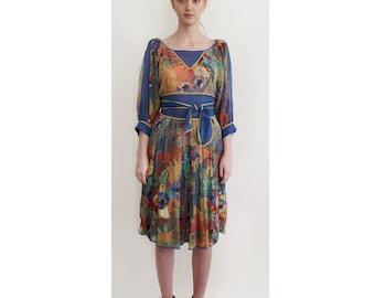 Vintage LOUIS FERAUD Blouse / Skirt Set c.1970's - Designer