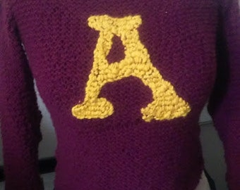 handknit weasley sweater  any initial any house color (made when ordered)