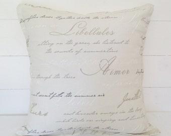 La Poeme Cushion Cover, La Poeme Pillow Case,  Script Cushion Cover