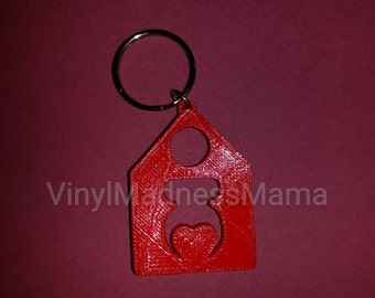 Red Home birth 3D Printed Key Chain  Eco Friendly PLA  (2 Inches tall)  similar to backyard birth natural birth decal