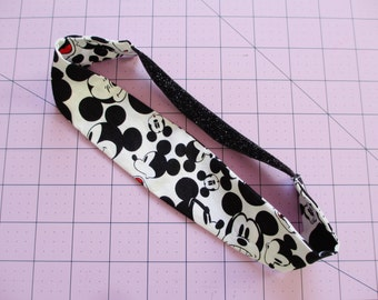 Mickey Mouse Black and White Cartoon Print Black Glitter Elastic Headband