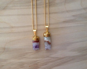 Gold Dipped Amethyst Cylinder Necklaces {Gold Plated Chain}