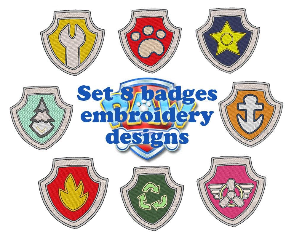 Pat'Patrouille Lot des 8 Badges motifs de broderie par ...