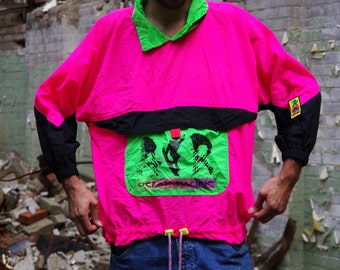 early 90's ocean pacific AIR extreme athletes neon pink green black windbreaker