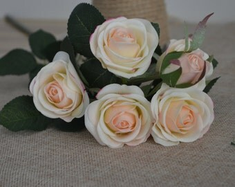 Blush Real Touch Silk Roses Spray DIY Wedding Centerpieces Silk Bouquets-5 flowers each spray