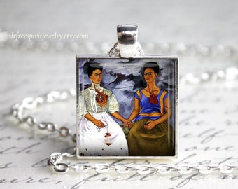 "Frida Kahlo Jewelry,  Frida Kahlo Necklace, ""Two Fridas"" Art Jewelry, Necklace, Famous artist, Artist Pendant, Frida Gift, Gift for Artist"