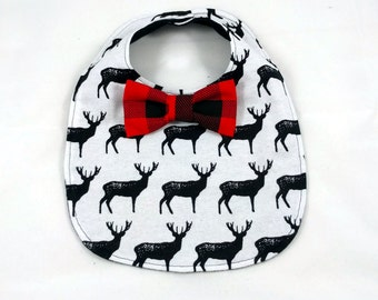 Deer Baby Bib - Bowtie Bib - Bow-tie Baby Bib - Dribble Bib - First Birthday Gift - Unique Baby Shower Gifts - Stag Baby Bib - Monochrome