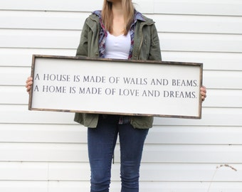 A House Is Made Wood Sign. Farmhouse Style. Rustic Decor. Wooden Signs. Farmhouse Decor. Rustic Signs. Housewarming Gift. Word Art.