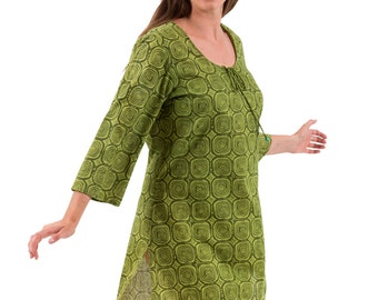 Kaftan Dress or Beach Cover Up – Maata, Abstract Olive in Cotton by Spirituelle