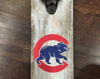 Chicago Cubs Vintage Style Wall Mounted Bottle Opener -Perfect For Man Cave -  Groomsmen Gift - Birthday Gift - Fathers Day Gift - Bar Area