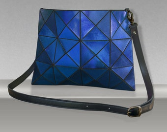 Blue Leather cross body Bag, cobalt blue metallic Leather crossbody bag, Womens Purse, Leather Crossbody, Women blue Bag, Metallic Leather