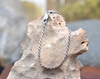 Simple Sterling Silver Italian Rope Chain Link Bracelet