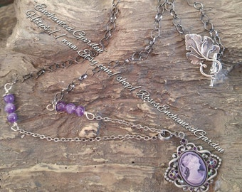 Vintage Style Cameo Pendant with Amethyst Ooak