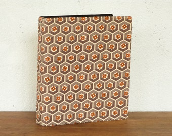 Vintage orange ring binder - File - Folder from 70's - Floral patterns
