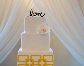 Love cake topper, wedding cake topper, black wedding cake topper, heart wedding cake topper