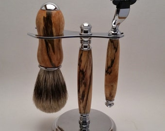 Handcrafted shaving set, Mach 3 or Fusion, razor, brush, stand, Spalted Maple, wood