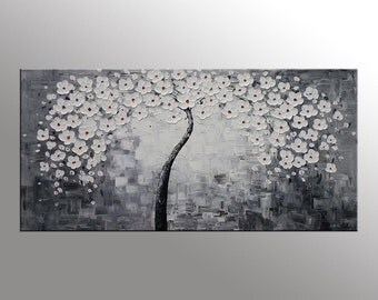 XL Oil Painting Abstract Painting Flower Tree Painting Original Art Oil Painting Canvas Painting Flower Painting Black and White Painting