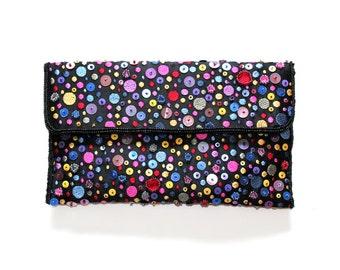 Vtg Multicolor Beaded Handbag // Small Crossbody Bag with Sequins, Embroidery // Unique Rainbow Clutch Purse 80s 90s