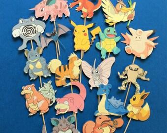 Pokémon cupcake toppers, Pokémon cake toppers, Pokémon party, Pikachu cupcake toppers,  Pikachu toppers, Pokemon