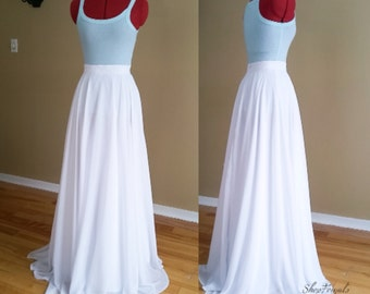 Boho weddings, maxi chiffon skirt, romantic bridesmaid, custom order, country wedding, long white skirt, beach bridal skirt, floor length,