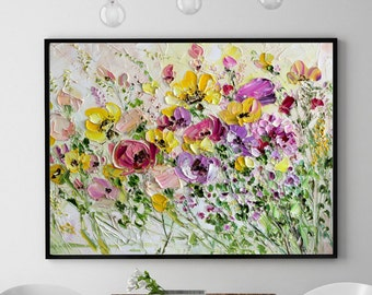 Colorful Field Flowers Red Yellow Pink Lilac Beige Art Print Giclee Ink Original Oil Painting Palette Knife Impasto Textured Home Decor Room