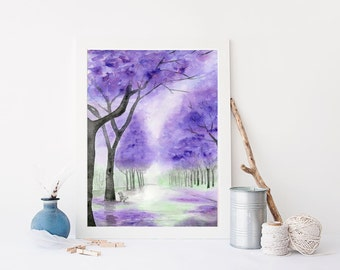 Meet me under the Jacaranda trees, Original Watercolor Art Print, Watercolor Landscape, Home Decor Art, Wall Art, Purple Art Print, Trees