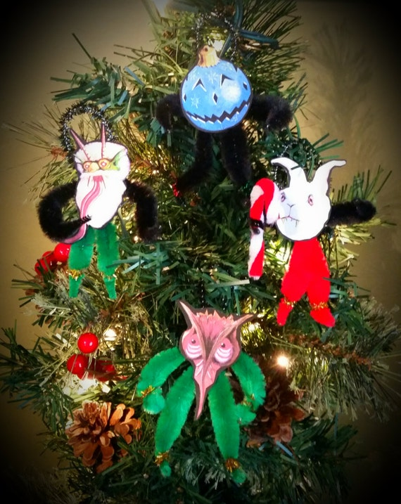Detroit Kaiju Vintage Chenille Holiday Ornaments - Monsters for your Christmas Tree! (#3 Bunny, Owl, Blue Ornament Head, White Krampus)