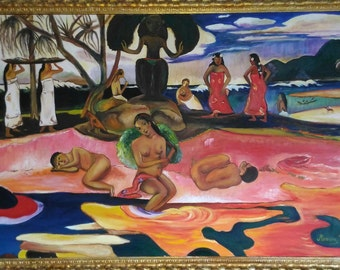 Art reproduction - oil on canvas - God's day by Gauguin