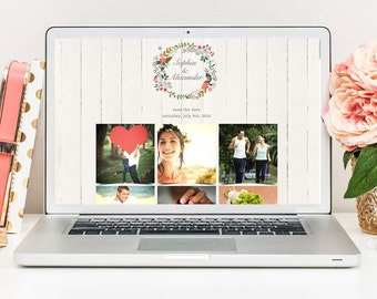 Wedding Website, Rustic Wedding Website, Boho Wedding Website, Wedding Website Template