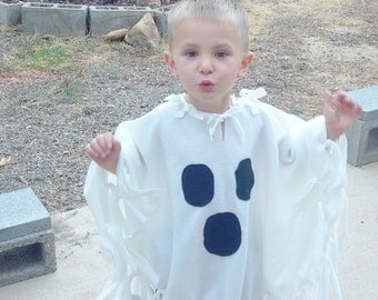 """Ghost costume Poncho costume Spooky ghost Friendly ghost Fleece poncho Children toddler adult petite - Select 12"""" or 20-21"""""""
